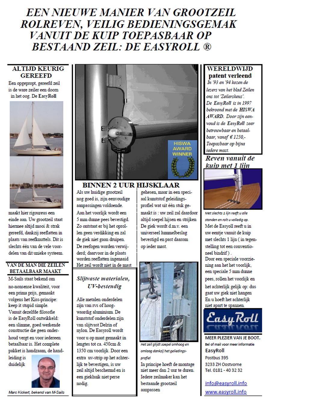 EasyRoll grootzeil rolreefgiek brochure NL